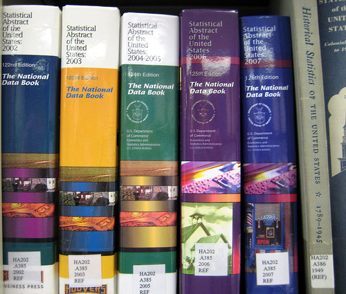 Statistical abstract spines on a shelf